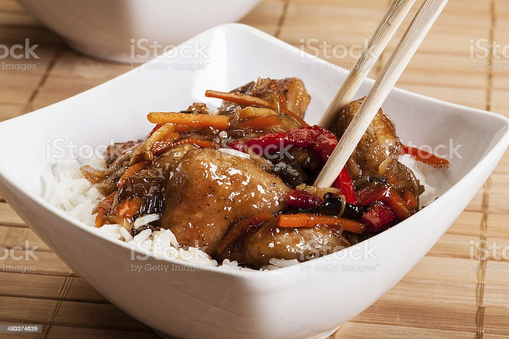 Sweet and sour pork with rice stock photo