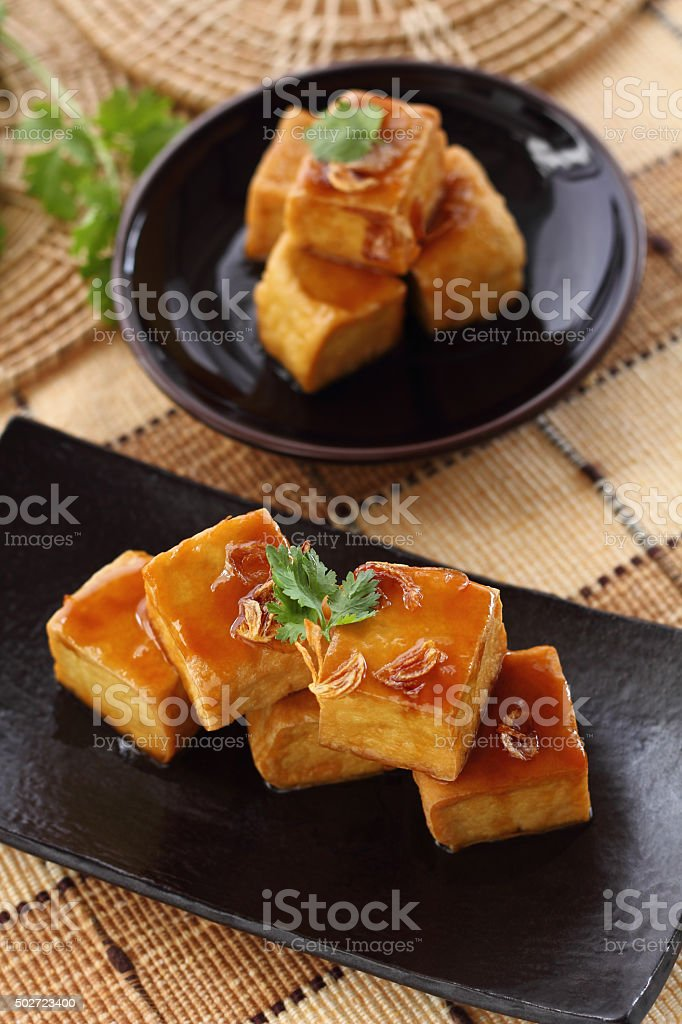 Sweet and sour  tofu. stock photo