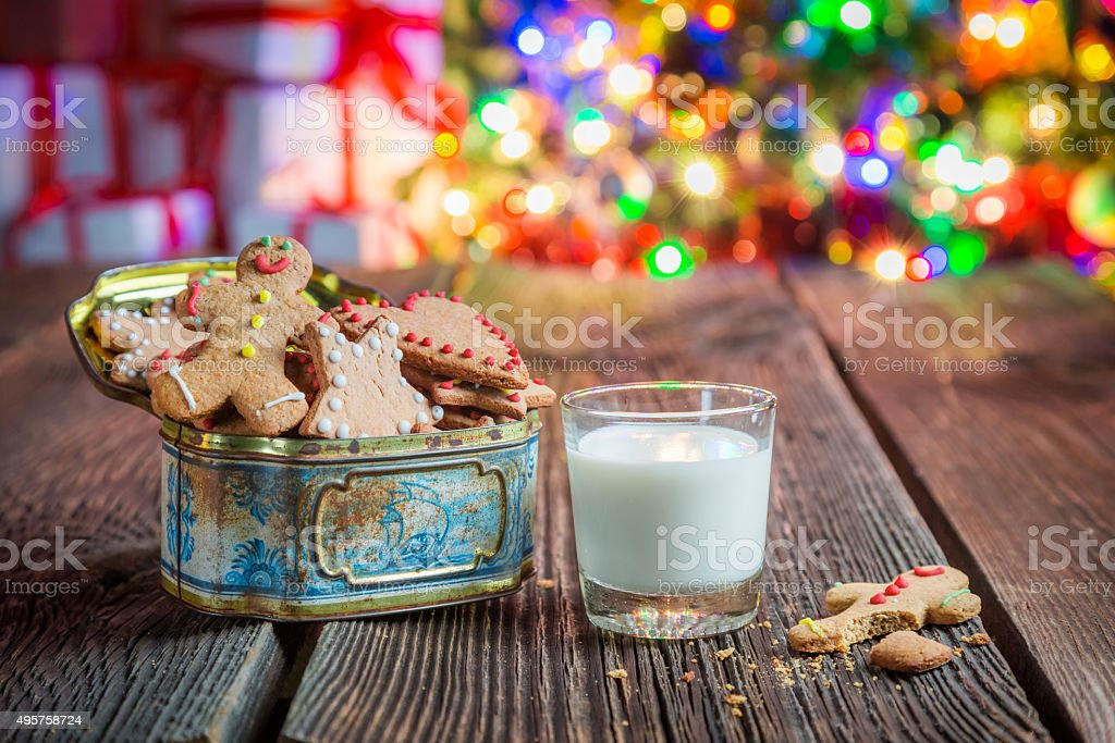 Sweet and tasty cookies with milk stock photo