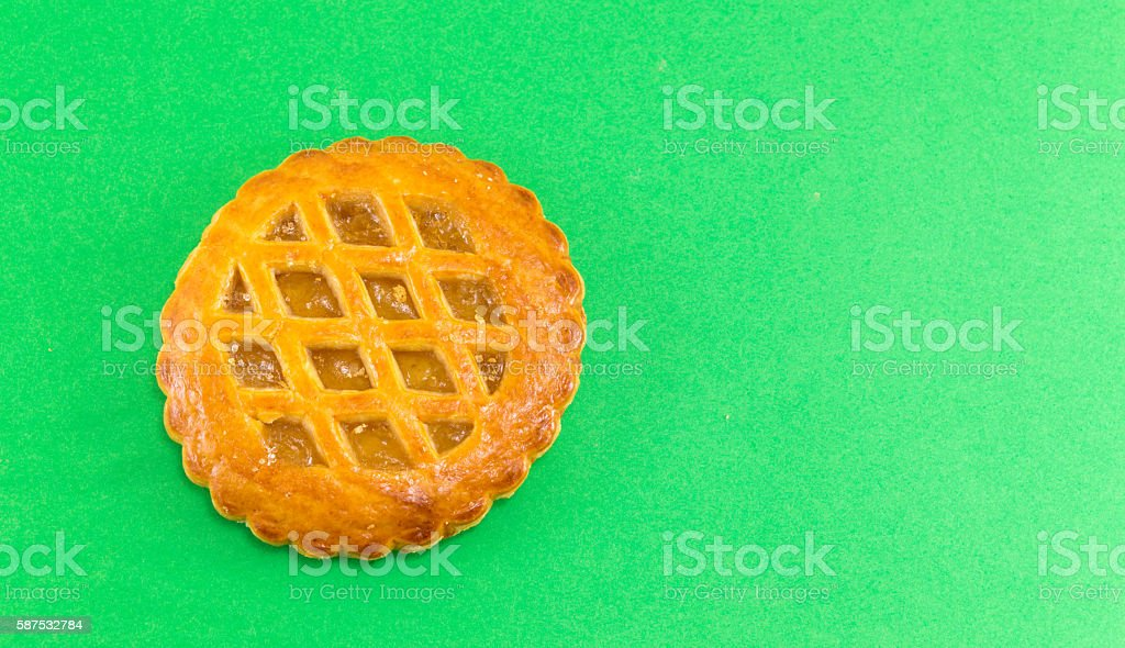 Sweet apple pie round cookie stock photo