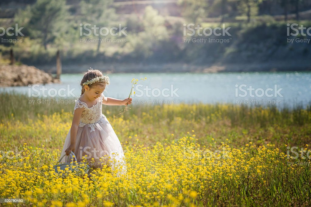 sweet baby girl outdoors with basket of flowers stock photo