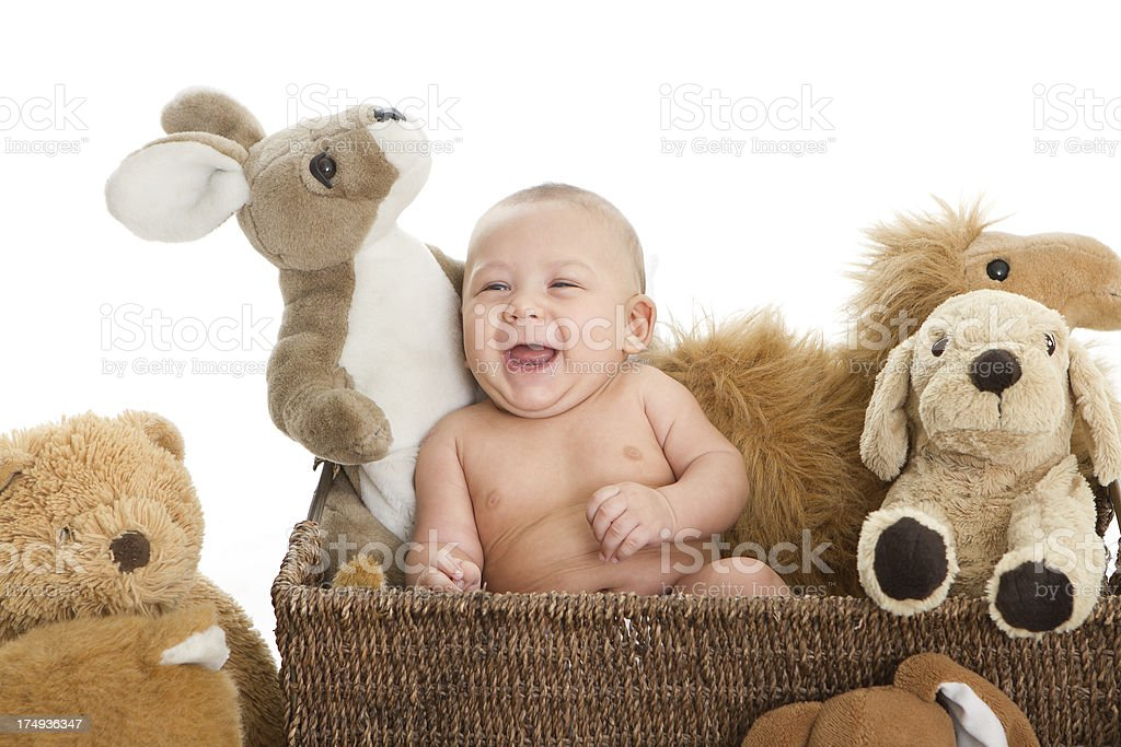 Sweet baby with teddy royalty-free stock photo