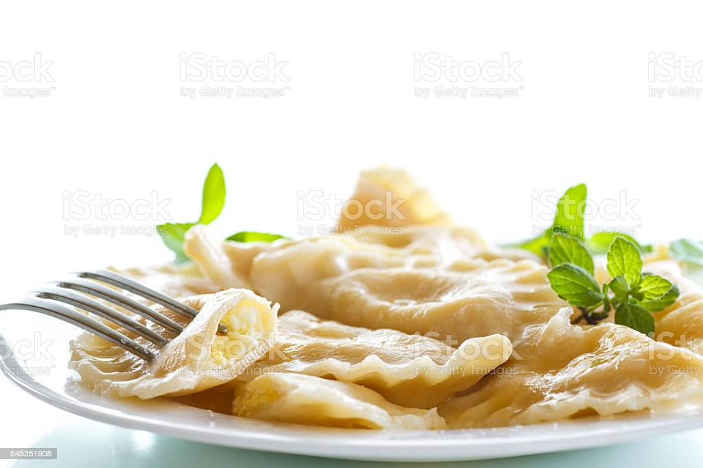 sweet boiled dumplings with cottage cheese stock photo
