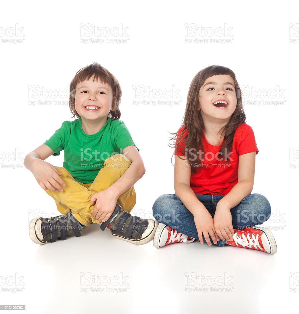 Sweet boy and girl stock photo