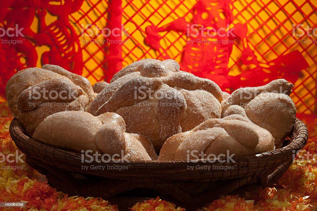 Sweet bread called Pan de Muerto stock photo