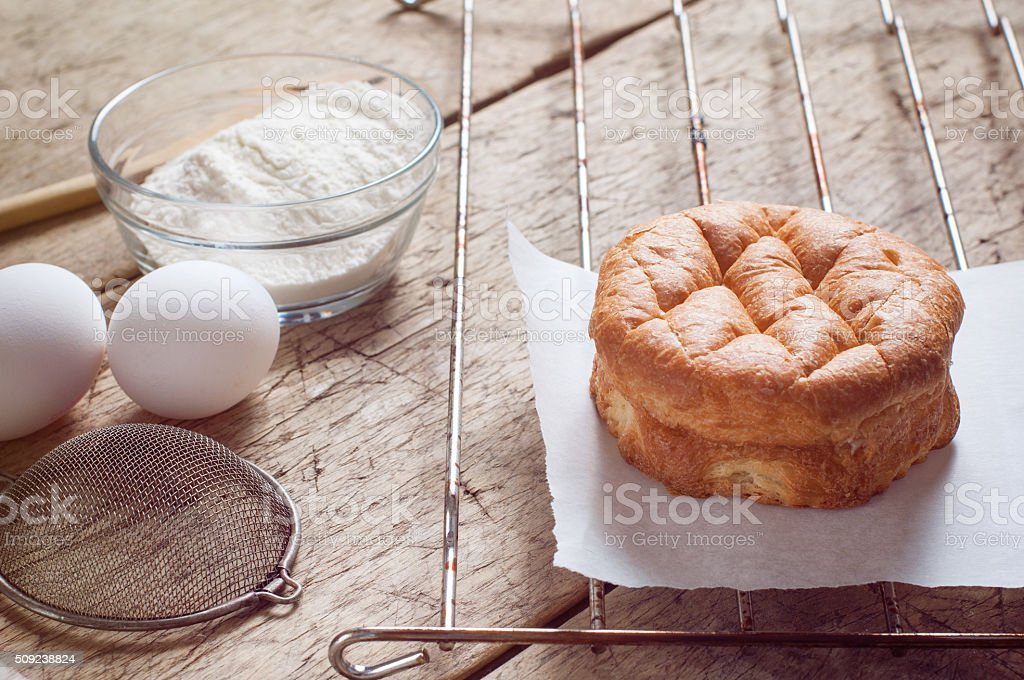 Sweet bread on wooden table stock photo