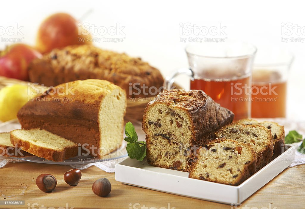 sweet bread with raisins and nuts royalty-free stock photo