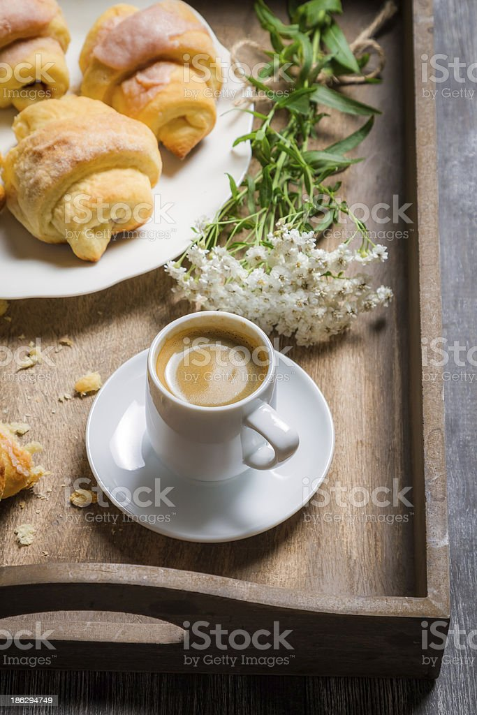 Sweet breakfast with espresso and fresh croissant royalty-free stock photo
