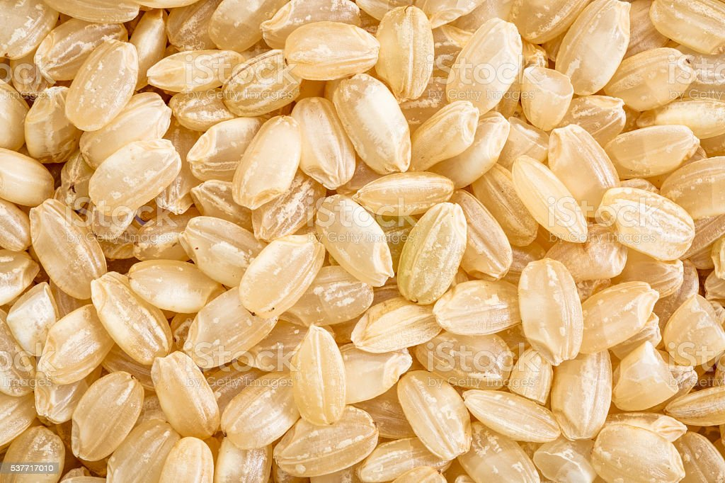 sweet brown rice macro stock photo