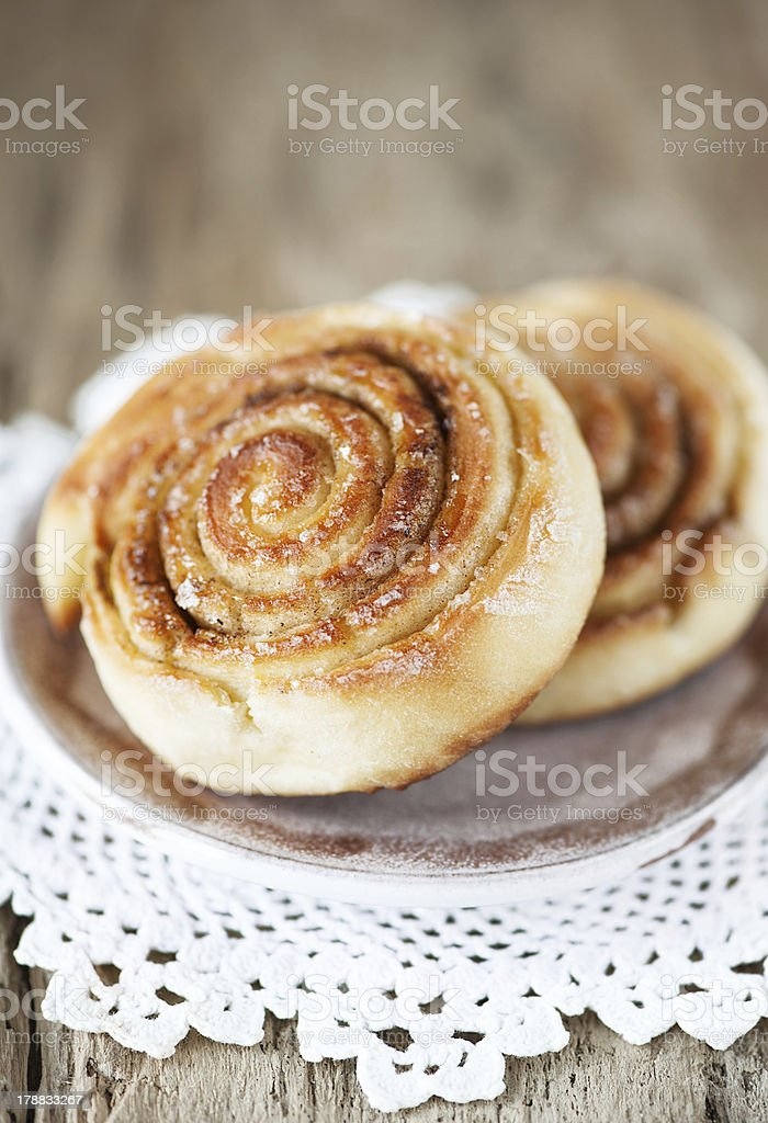 Sweet buns on the plate royalty-free stock photo