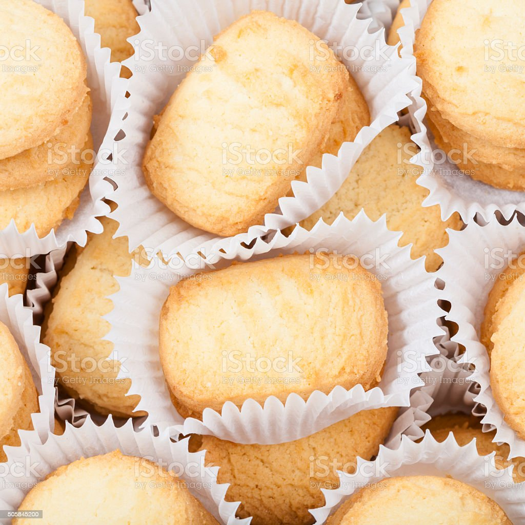 sweet Butter Shortbread Biscuits in white paper stock photo