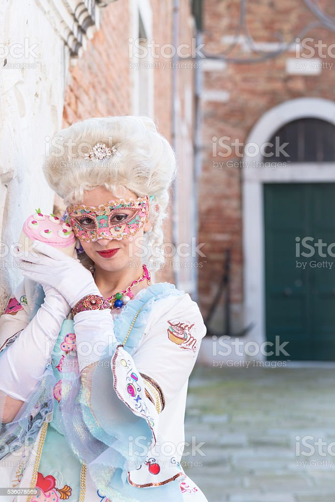 Sweet Cake Mask, Venice Carnival at Arsenale, Italy, Europe stock photo