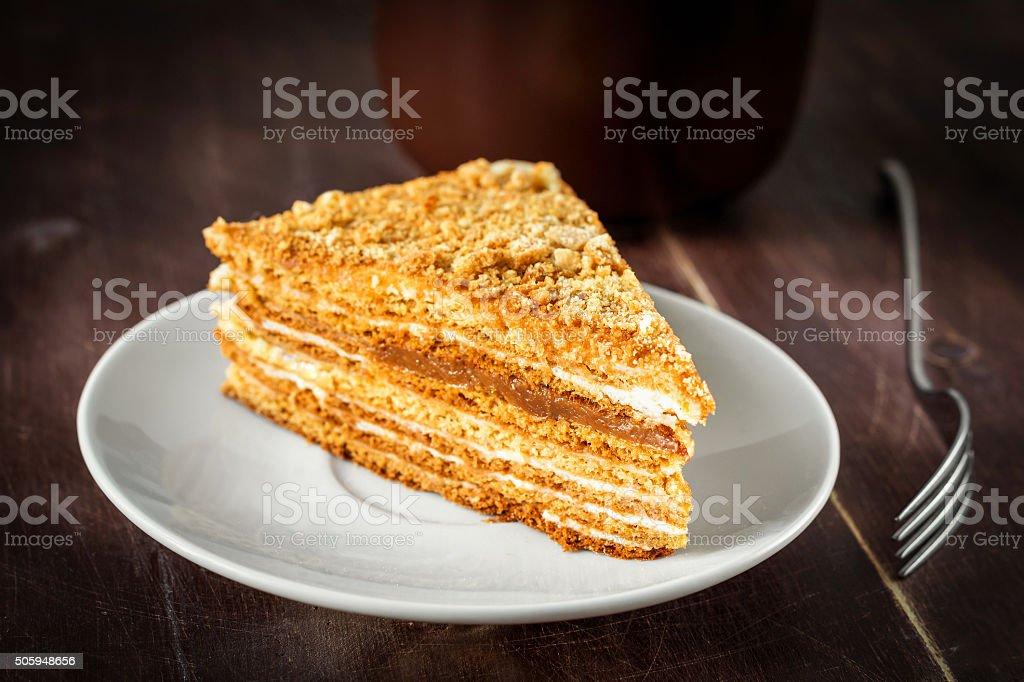 Sweet cake on white plate stock photo
