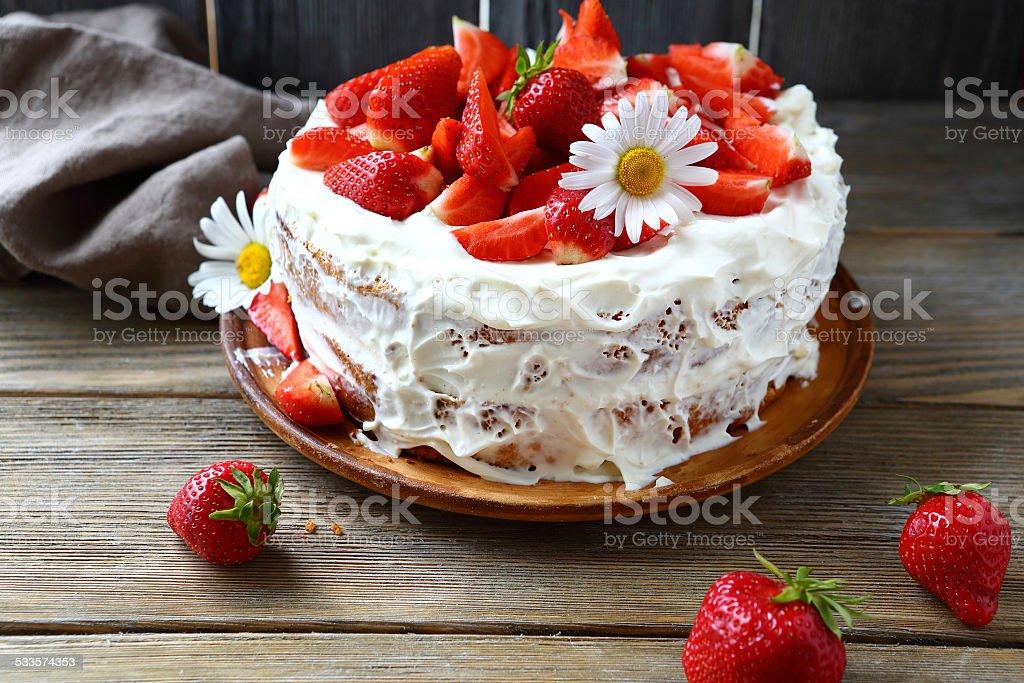 Sweet cake with strawberry stock photo