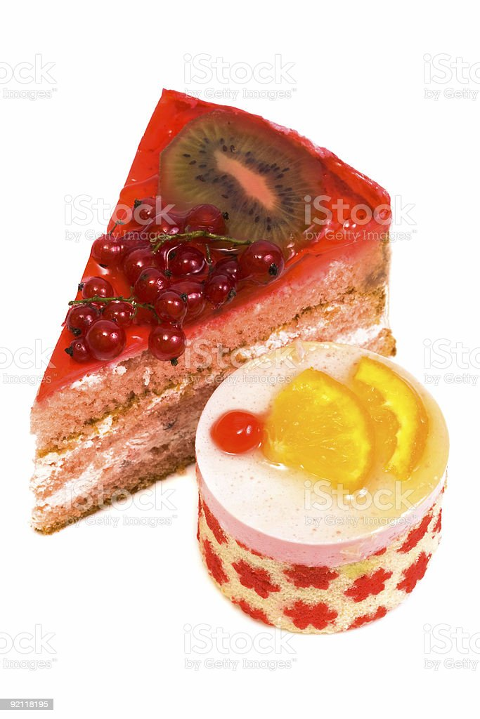 Sweet cakes with fruit royalty-free stock photo