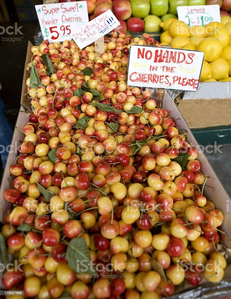 Sweet Cherries at Market stock photo