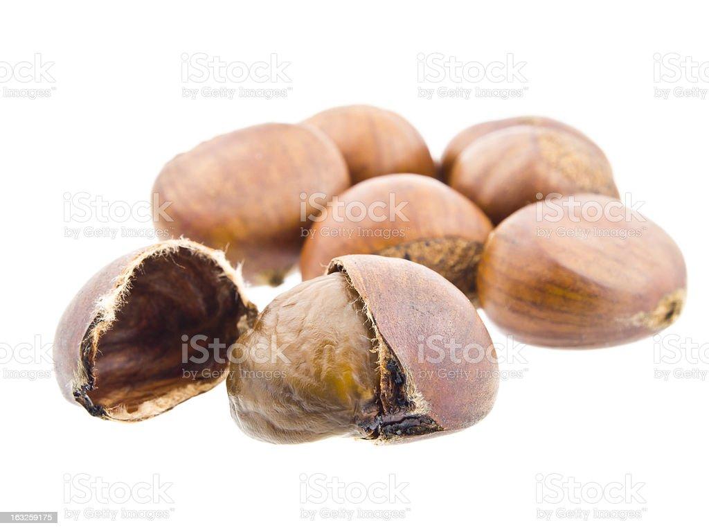 Sweet chestnut on white background royalty-free stock photo
