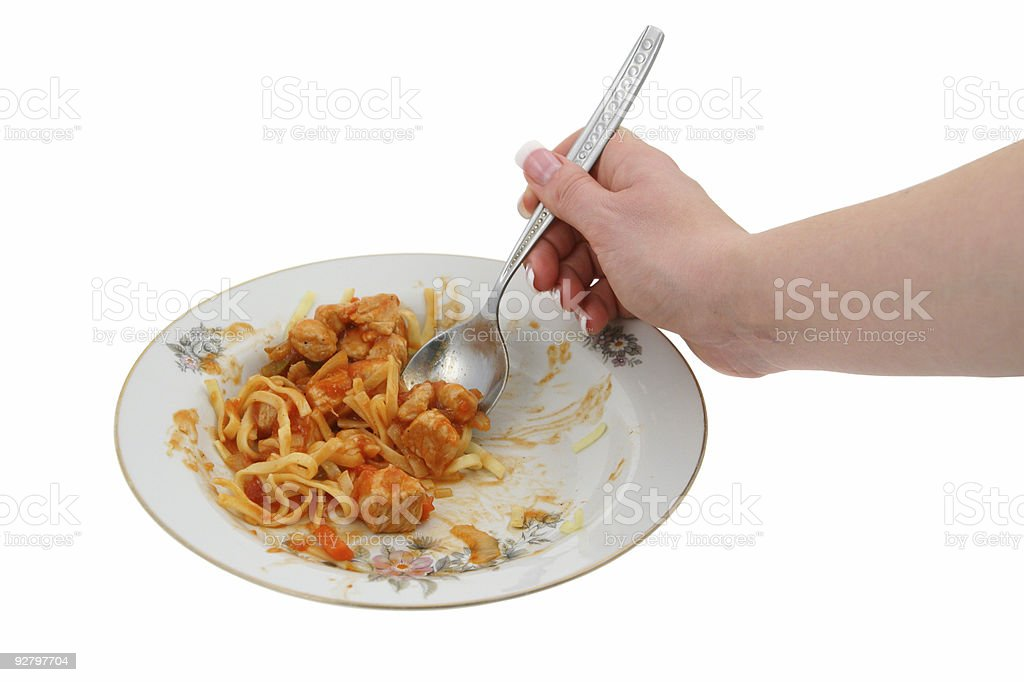 sweet chicken with pasta stock photo