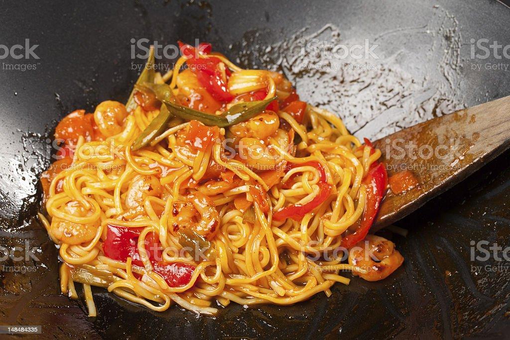 Sweet Chilli King Prawn Noodles royalty-free stock photo