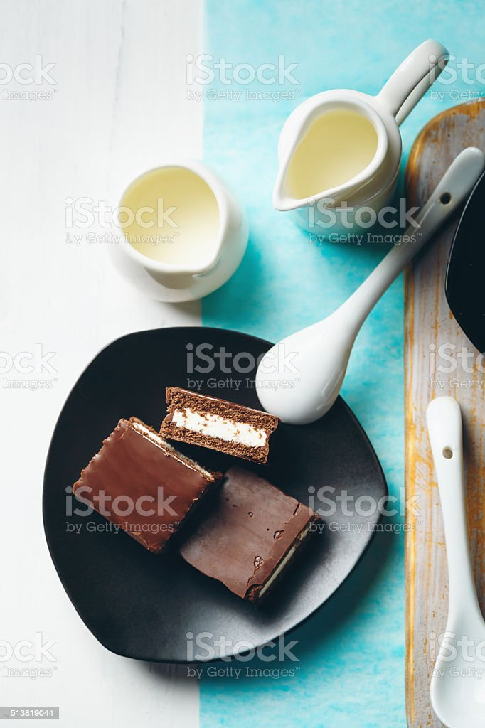 Sweet Chocolate Dessert Served on a Plate stock photo