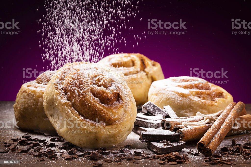 Sweet cinnamon buns stock photo