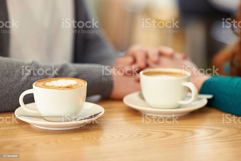 Sweet coffee and sweet nothings stock photo