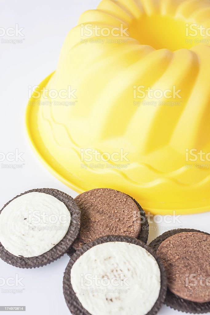 Sweet cookies and cake form on white background royalty-free stock photo