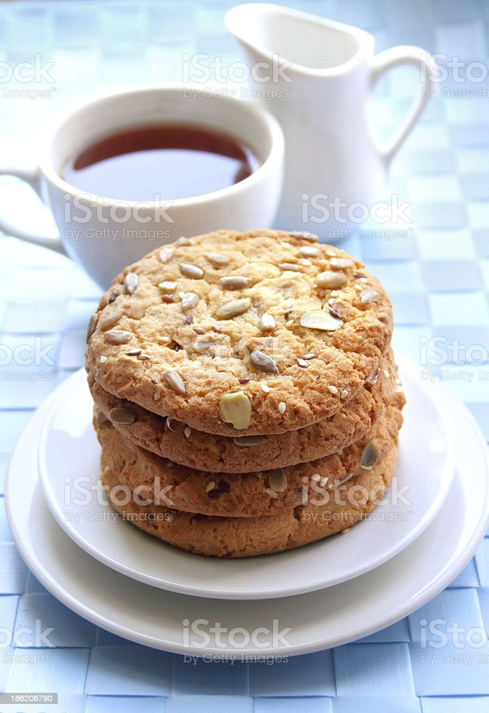Sweet cookies with different kinds of seeds stock photo