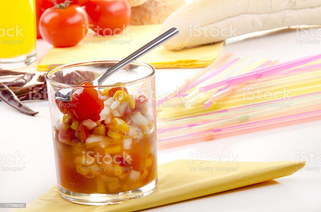 sweet corn and tomato relish stock photo