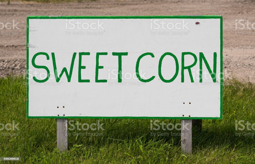 Sweet Corn Hand Painted Sign stock photo