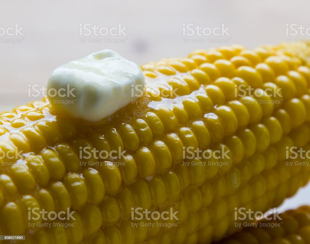sweet corn with butter stock photo