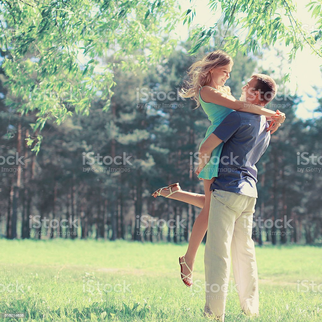Sweet couple in love spring sunny day stock photo