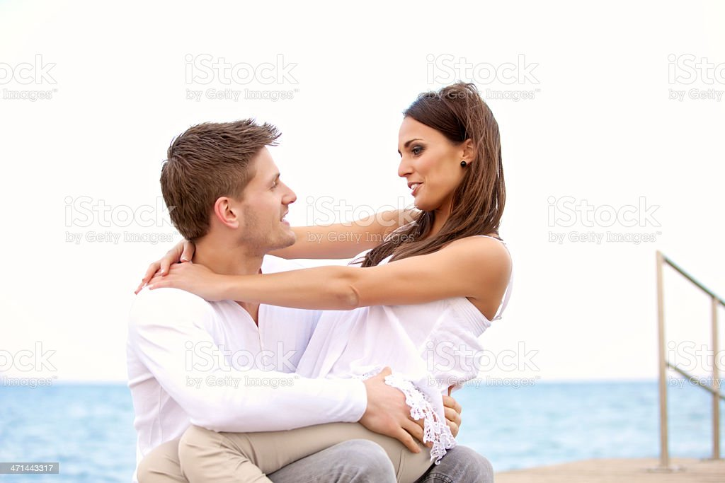 Sweet Couple Looking at Each Other stock photo