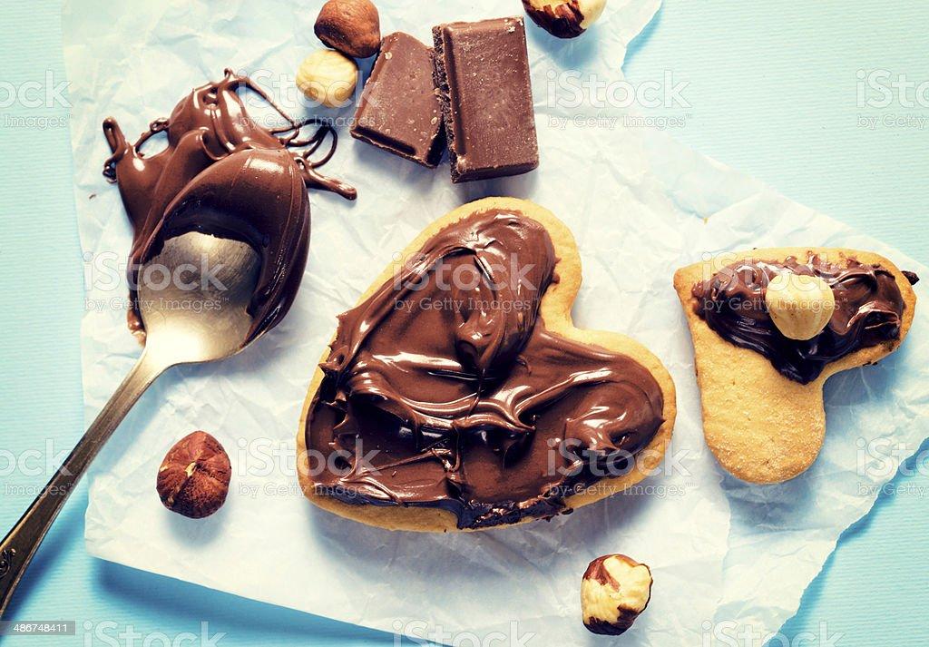 Sweet cream and cookies stock photo