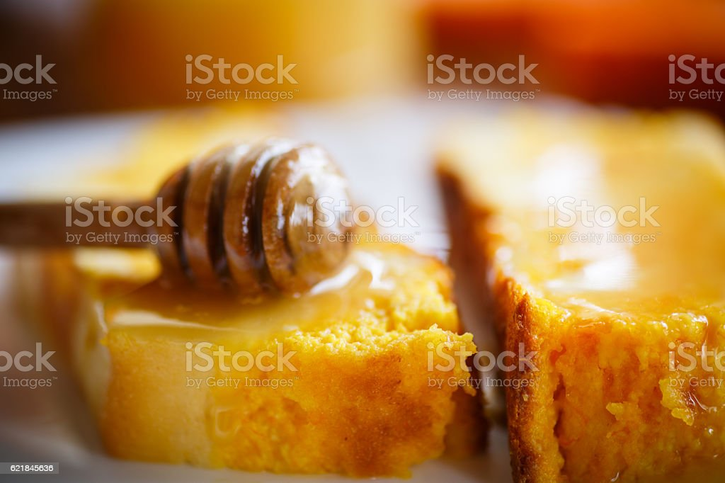 sweet curd pudding with pumpkin stock photo