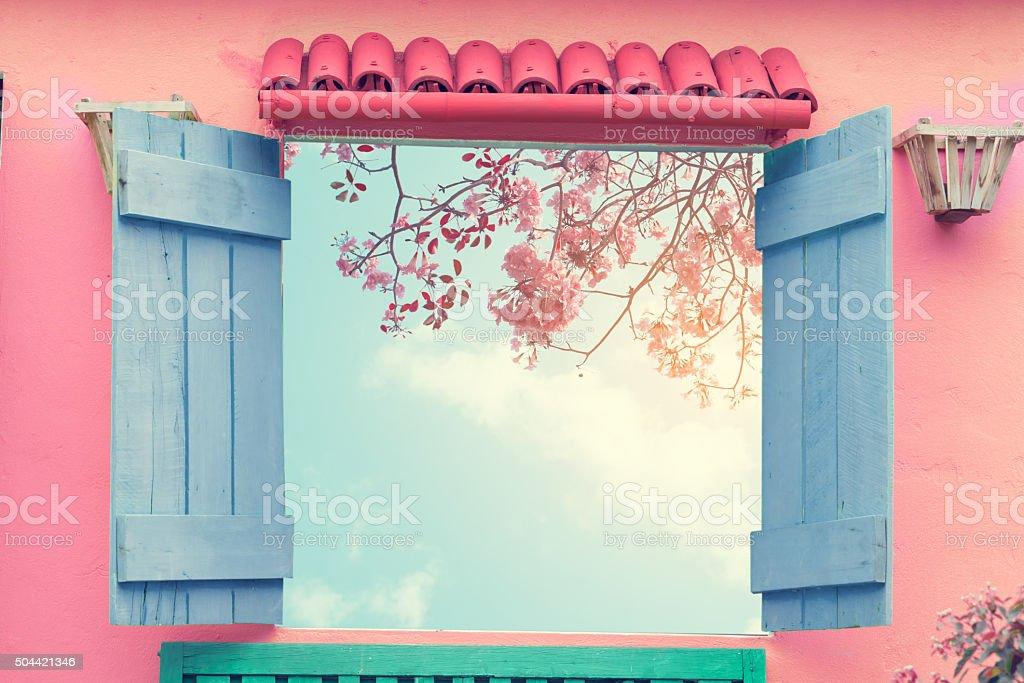 Sweet cute window stock photo