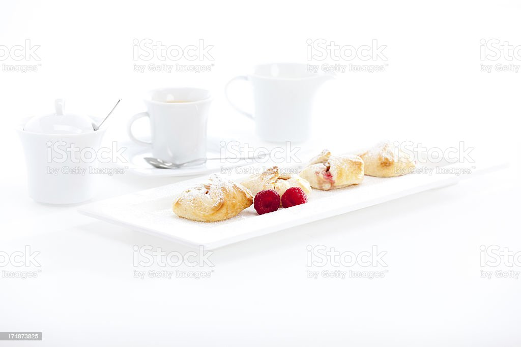 sweet dessert with coffee and place for text stock photo