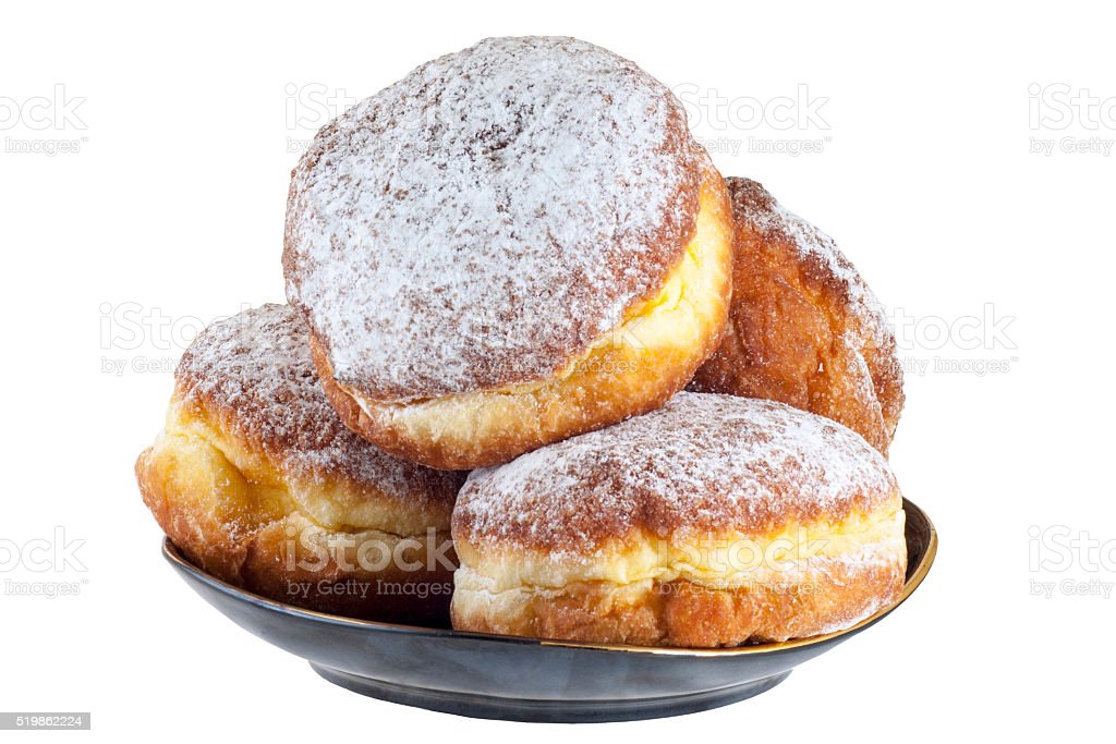 sweet donuts on a black plate, clipping path stock photo