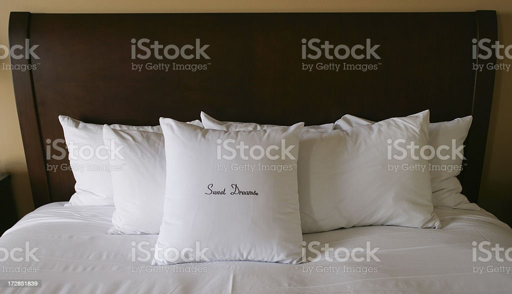 Sweet Dreams embroidered on pillows. royalty-free stock photo