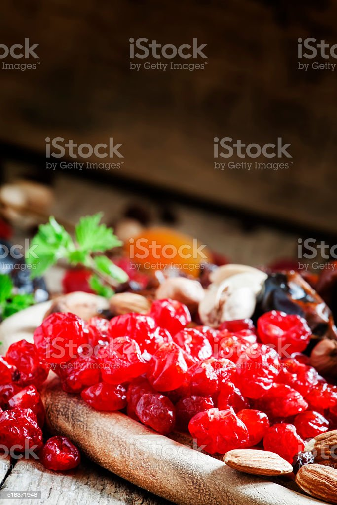 Sweet dried cherries, pitted stock photo