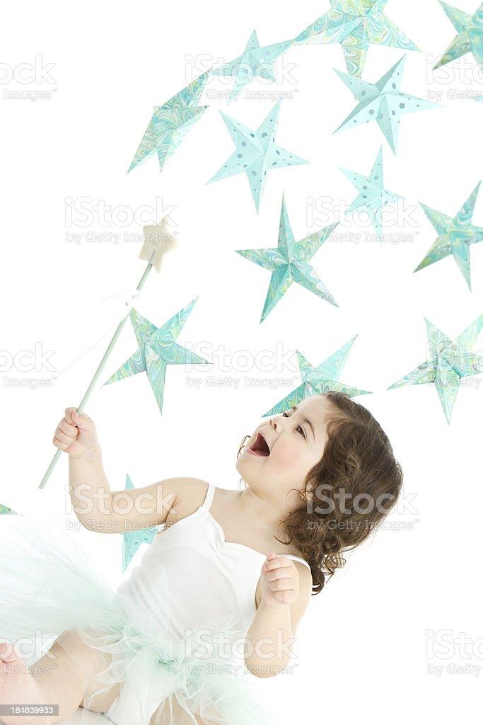 Sweet fairy and star's rain stock photo