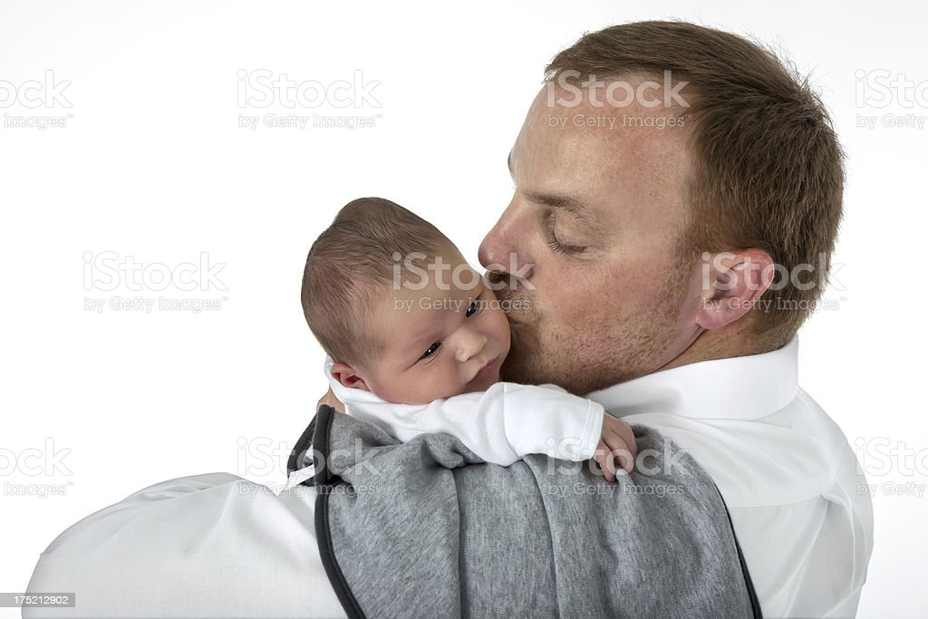 Sweet first kiss for his offspring. royalty-free stock photo