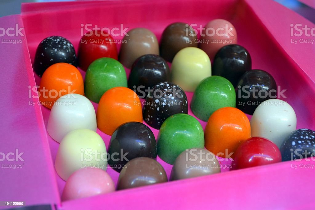 Sweet Food. Colored chocolate stock photo