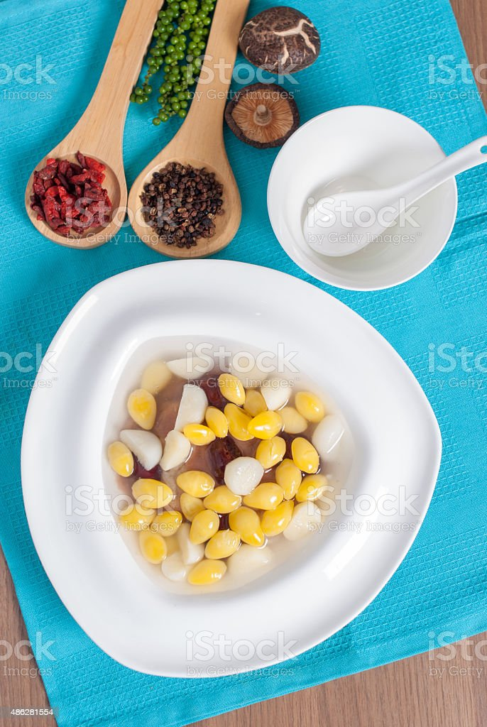 Sweet Ginkgo nuts served with taro in syrup dessert menu stock photo