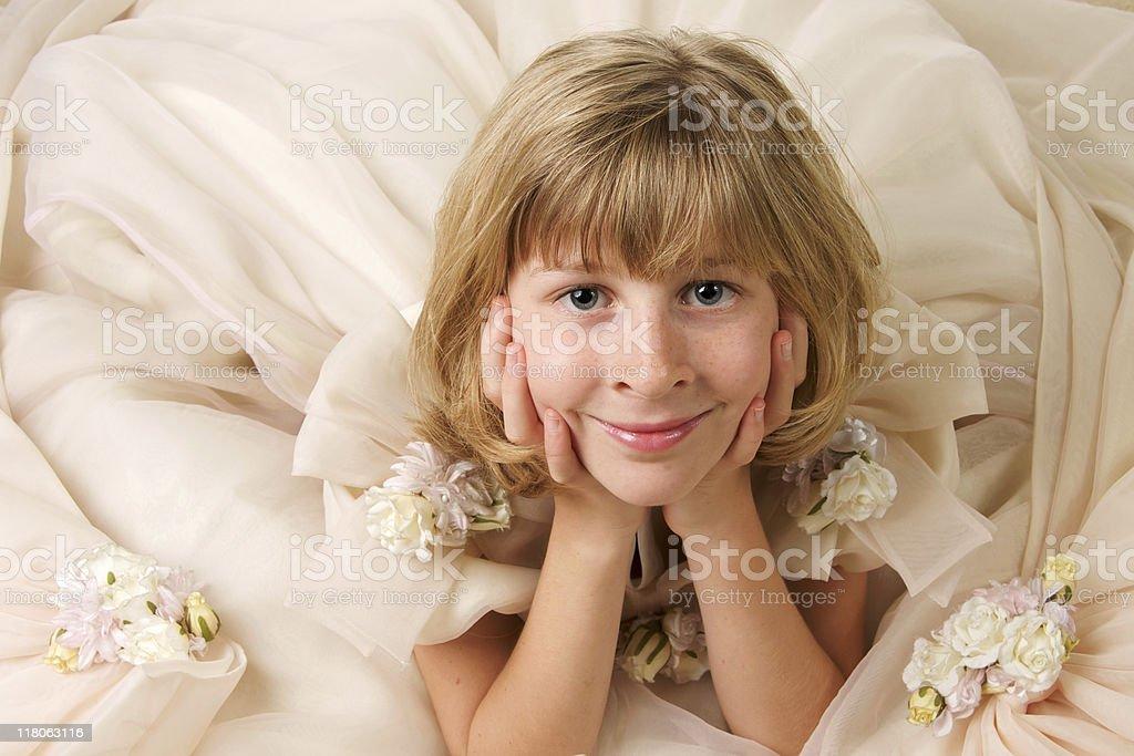 Sweet Girl in a Fancy Dress - Full Frame stock photo