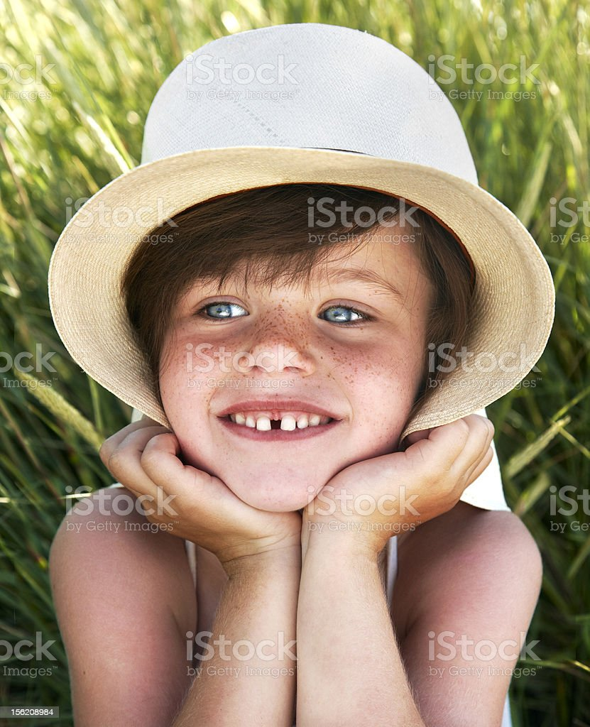 Sweet girl with freckles royalty-free stock photo