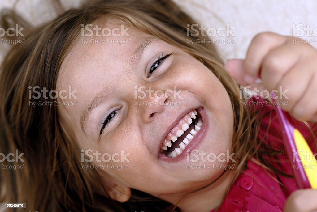 Sweet  girl with tooth brush royalty-free stock photo