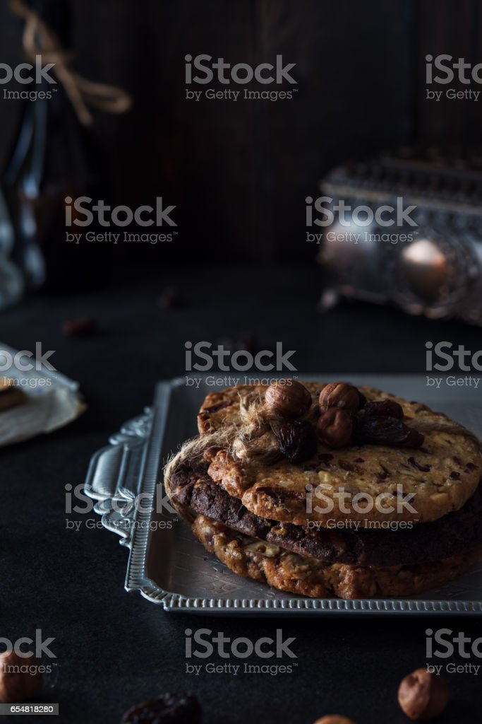 Sweet healthy cookies with hazelnuts stock photo