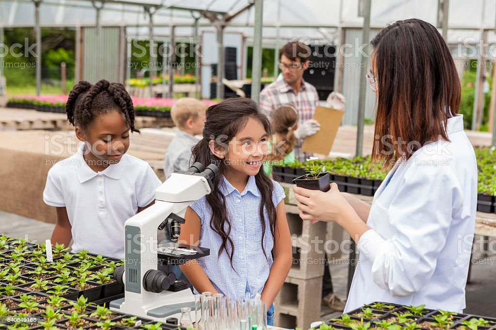 Sweet Hispanic Student learning about plants stock photo