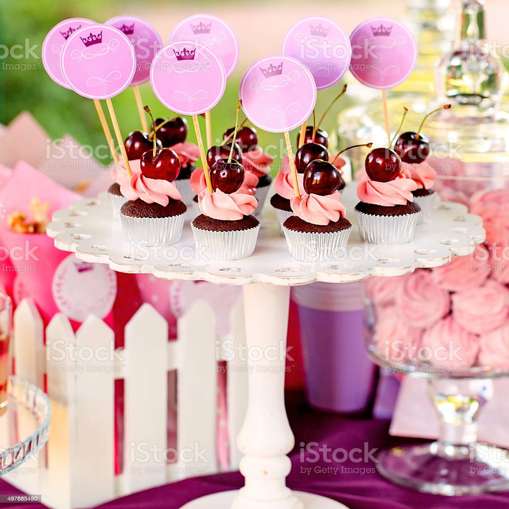Sweet holiday buffet with cupcakes stock photo